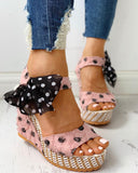 Vieley Polka Dot Bowknot Strappy Wedges Brushed Slingback Peep Toe Platform Sandals