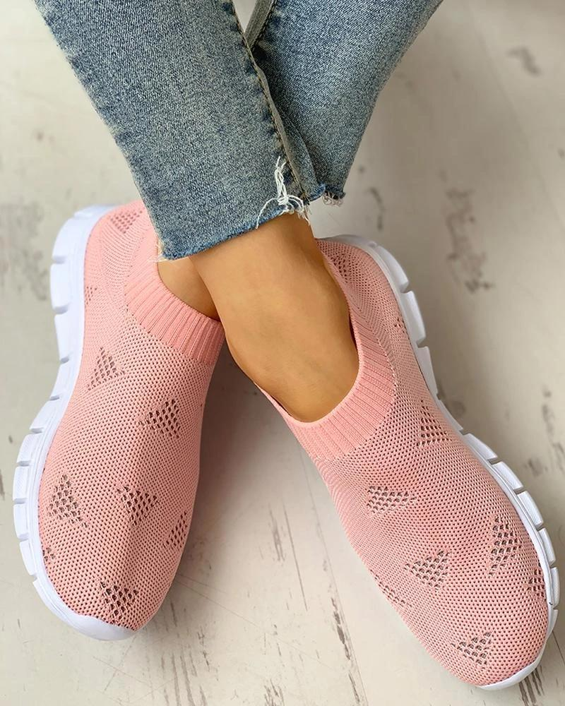 Vieley Triangle Hollow-out Breathable Elastic Cuff Solid Color Slip-on Sneakers