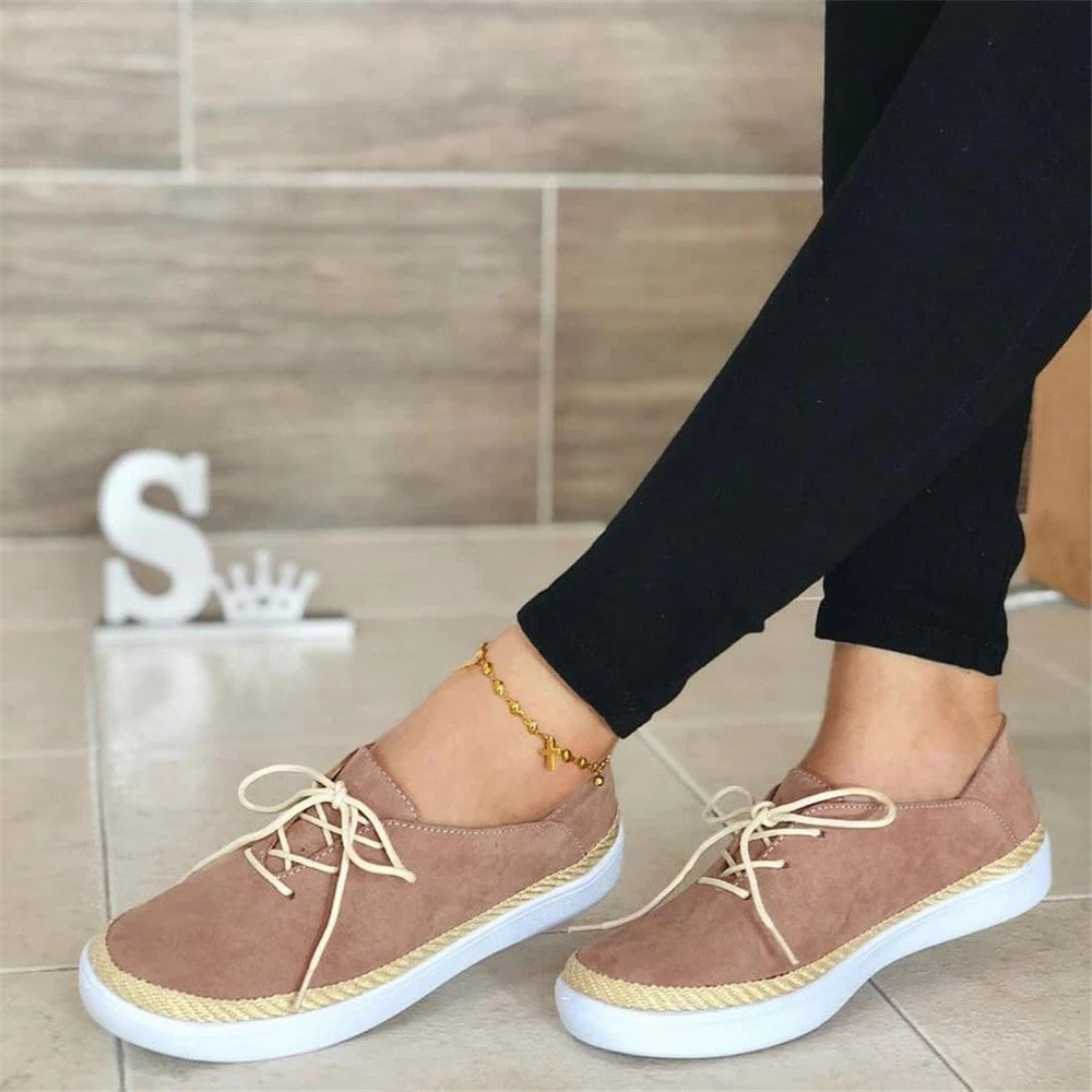 Vieley Womens Lace Up Flat Shoes Comfy Casual Shoes