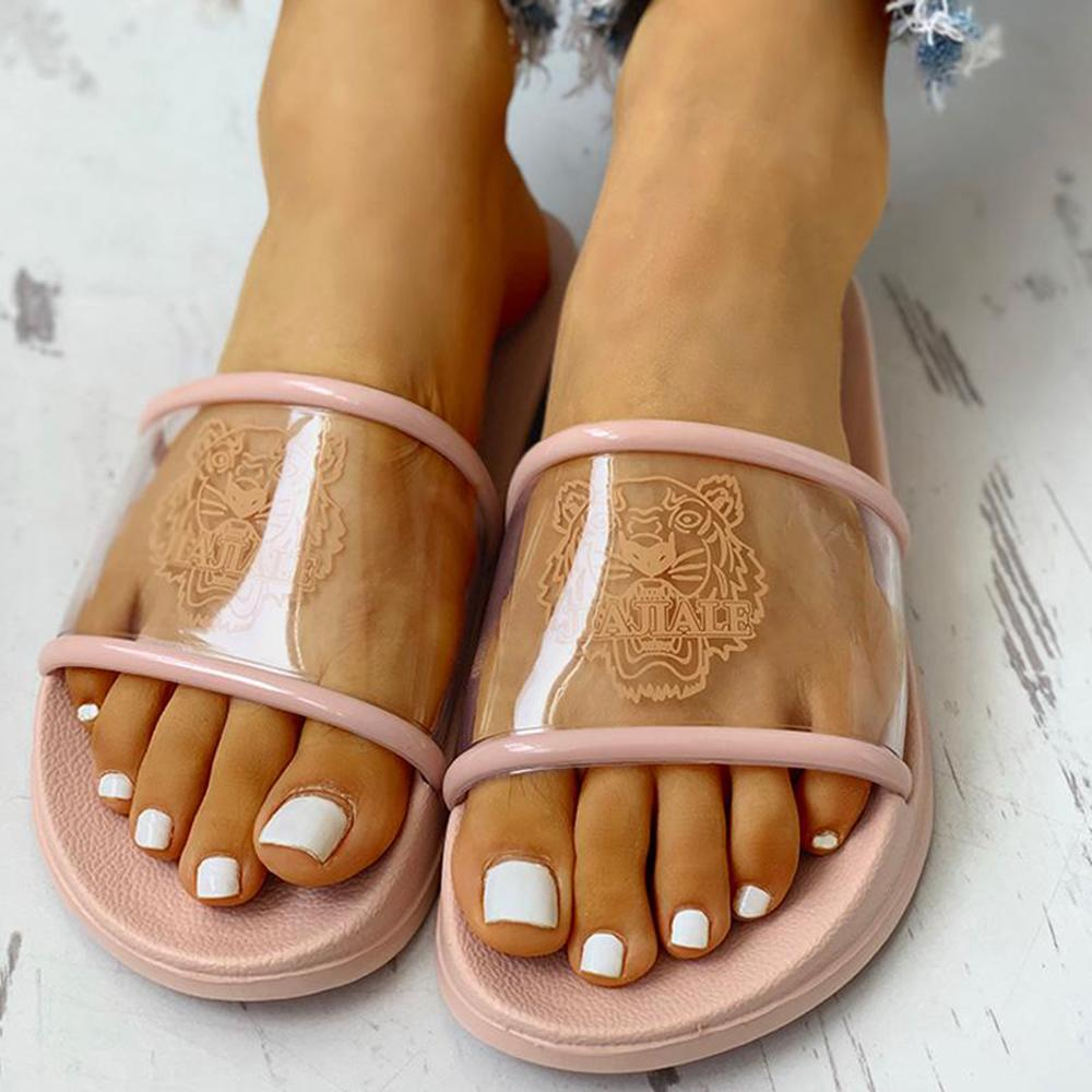 Vieley Open Toe Tiger Printing Plastic Sandals