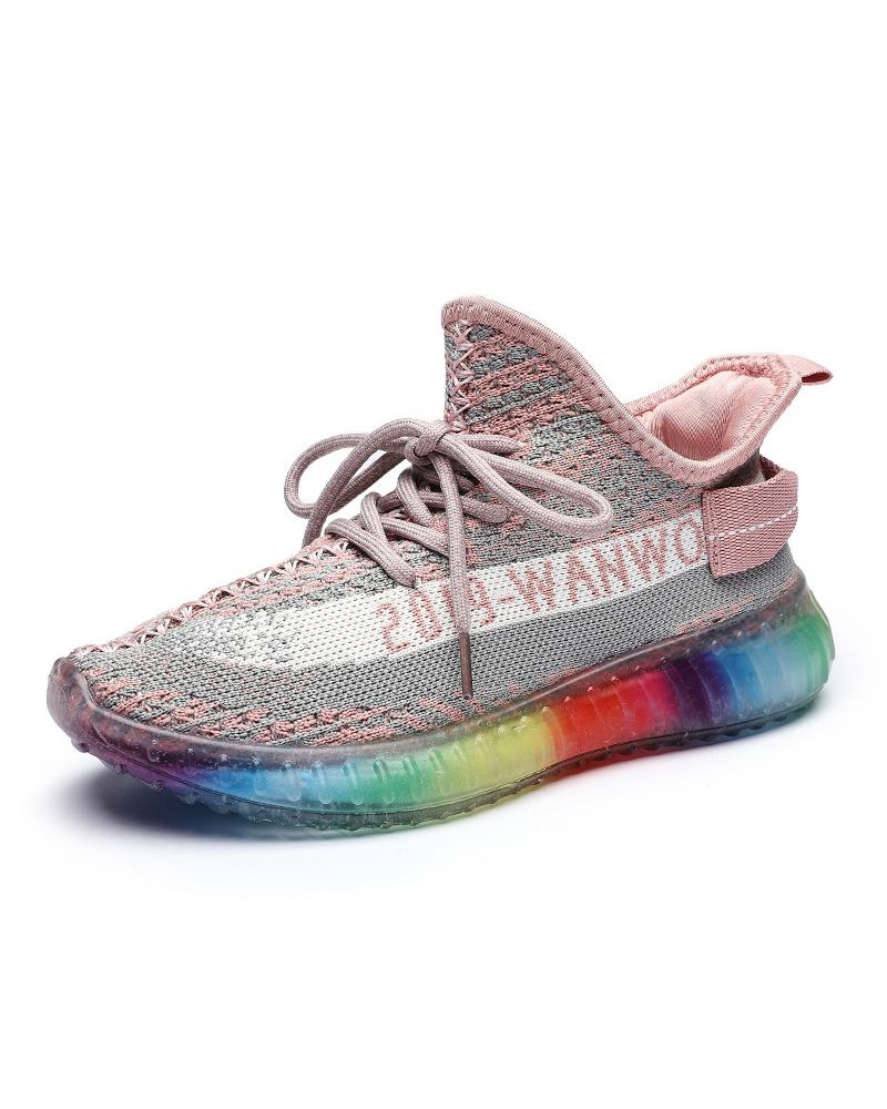 Vieley Letter Printed Colorful Breathable Lace-up Sneakers