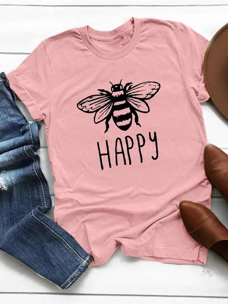 Vieley Happy Bee Short Sleeve Tees Letter Printed Graphic Over Size Pullover T-shirts