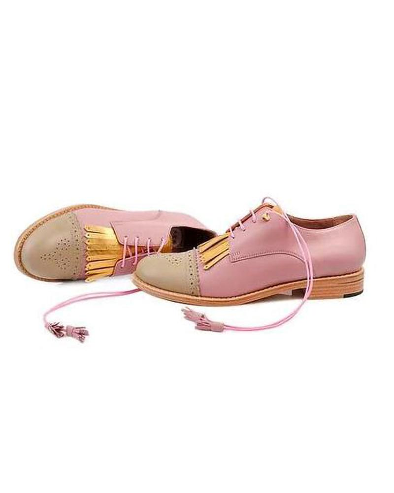Vieley Womens Vintage Lace Up Low Heel Brogue Loafers