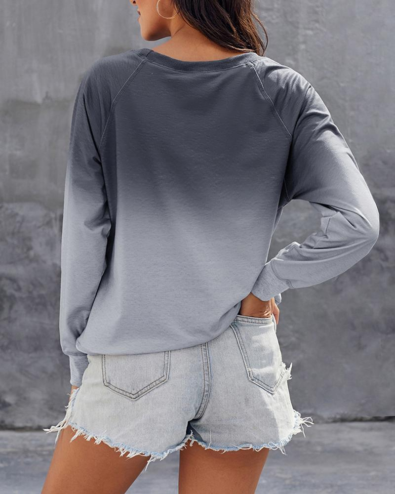 Vieley Gradient Street Hipster Aesthetic Harajuku Pullovers Oversized Sweatshirt Round Neck Tracksuit