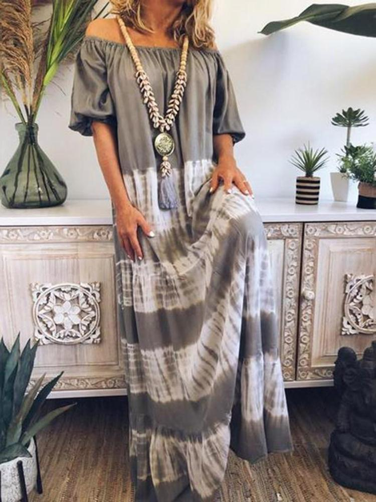 Vieley Off Shoulder Loose Slim Long Striped Skirts Positioning Print Long Sleeve Dress