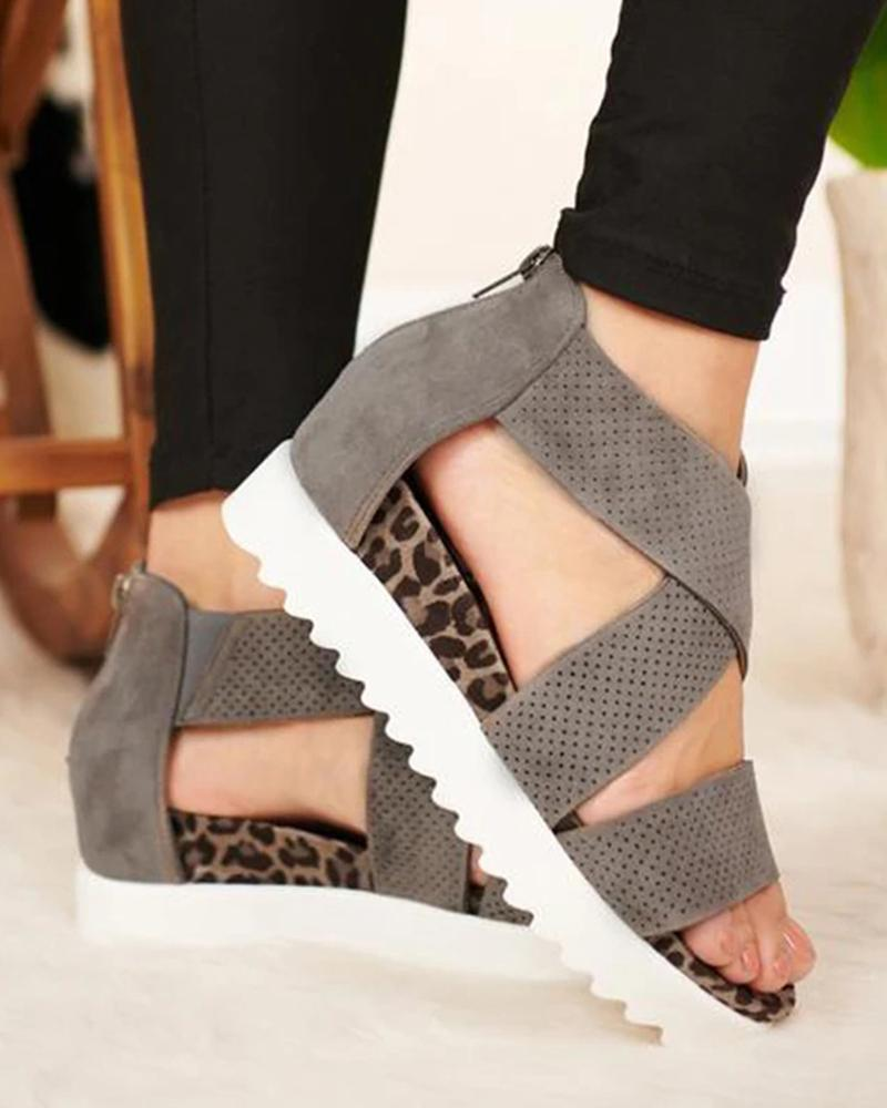 vieley Back Zipper Perforated Platform Wedge Sandals