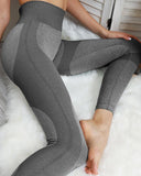 Vieley Seamless High Waisted Yoga Leggings Colorblock Stretch Tights Butt Lift Running Pants