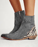 Vieley Womens Leopard Suede Point Toe Zipper Ankle Boots