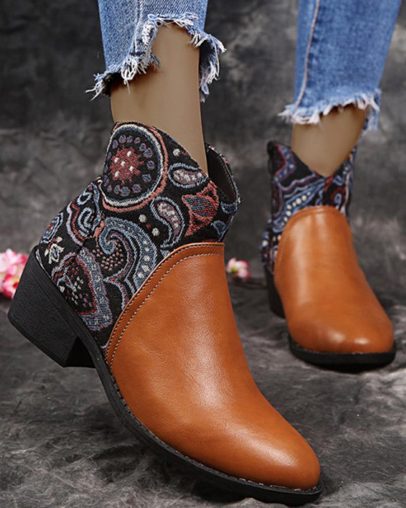 Vieley Embroidery Embellished Side Zipper Slip-on Ankle Boots