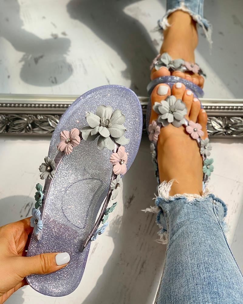Vieley Womens Floral Flip Flops Casual Summer Thong Sandals