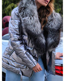 Vieley Women Fur Collar Short Coat Belted Coat With Plus Size