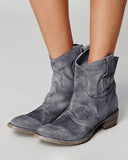 Vieley Slip on Booties Pontied Toe Solid Color Short Boots