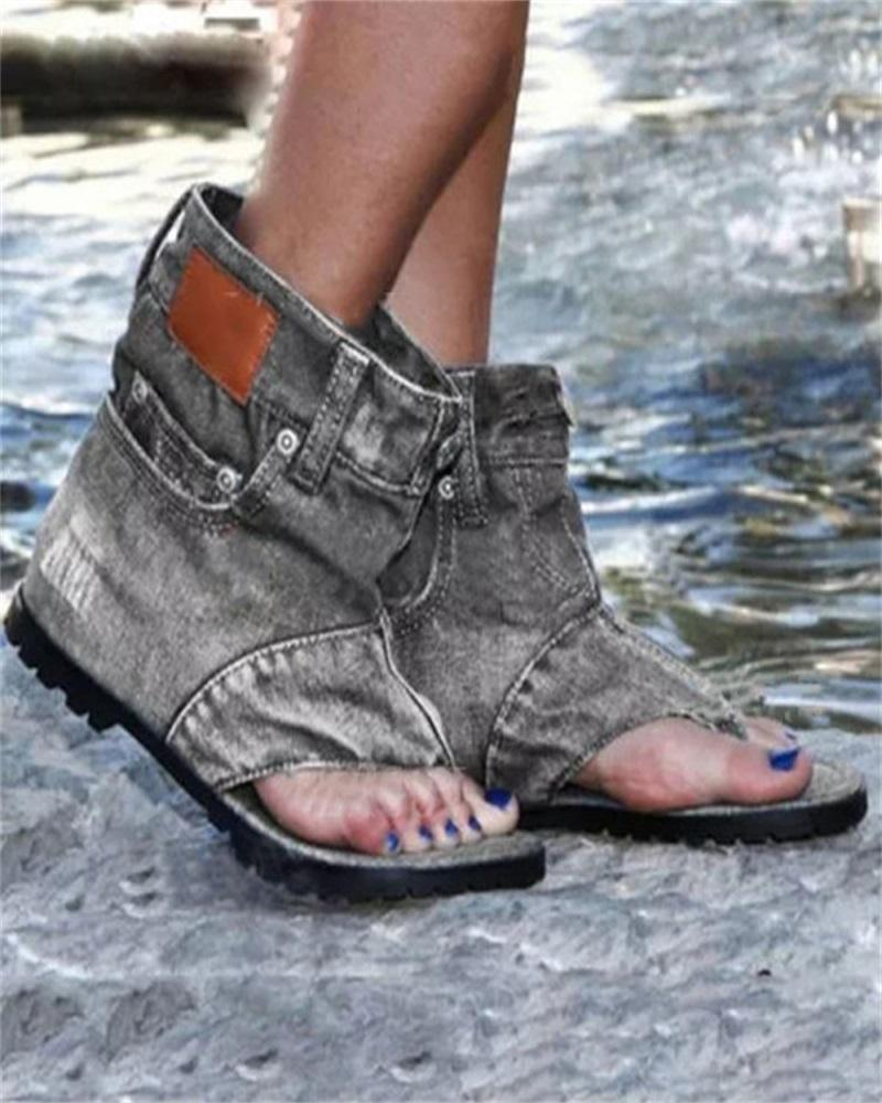 Vieley Women Fashion Jeans High Top Flat Sandals
