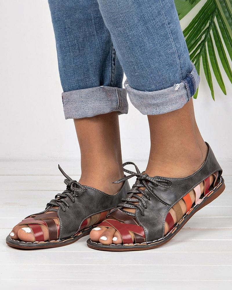 Vieley Open Toe Criss-cross Strap Lace-up Cut-out Colorblock Sandals