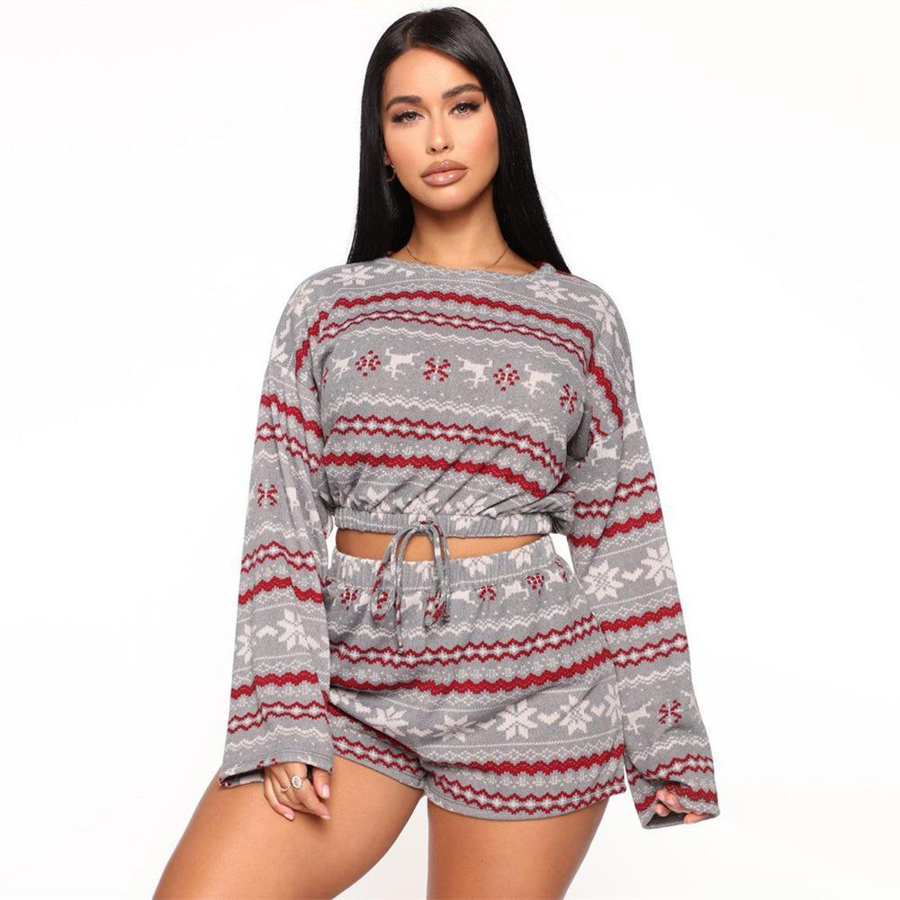Vieley Christmas Pattern Long Sleeve Top And Shorts