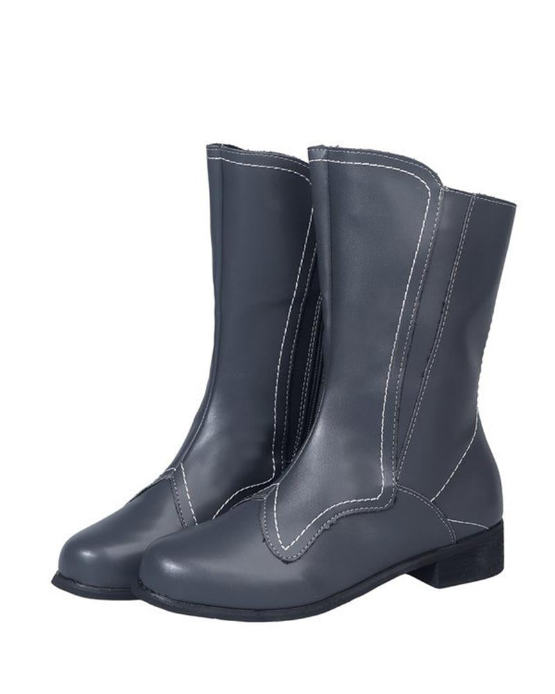 Vieley Side Zipper Boots Solid Color Waterproof Flat Short Boots
