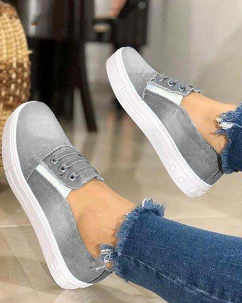 Vieley Elastic Strap Slip-on Washed Demin Canvas Sneakers