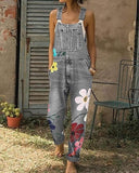 Vieley Womens Floral Denim Jumpsuits Fashion Baggy Loose Bib Pants