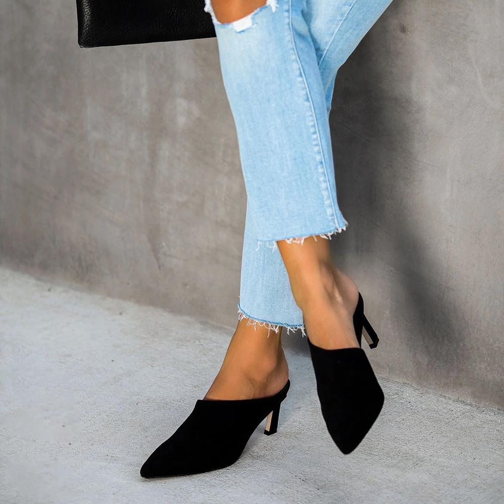 Vieley Pointed Toe Mules Heeled Sandals