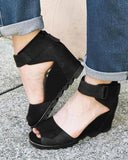 Vieley Woman Peep Toe High Waterproof  Platform Wedges Retro Roman Elastic Ankle Strap Buckle Sandals