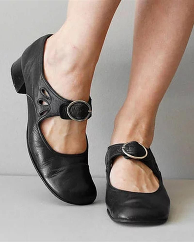 Vieley Teardrop Cutout Round Toe Adjustable Buckle Vintage Mary Janes