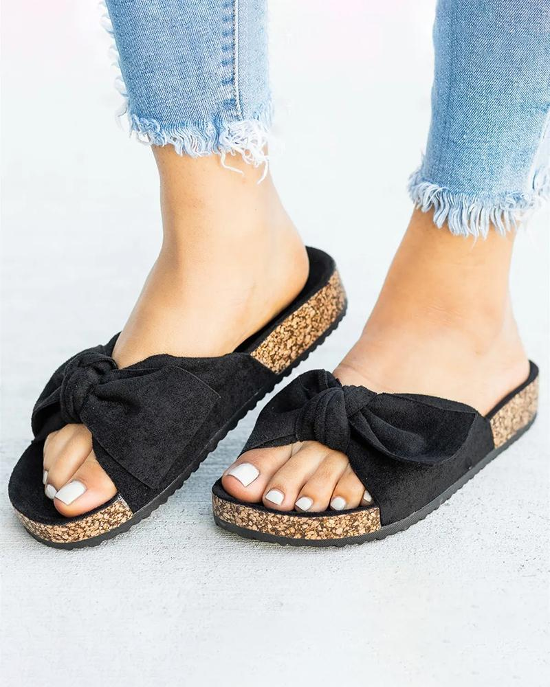 Vieley Faux Suede Bowknot Cork Sole Soft Open Toe Flat Slides