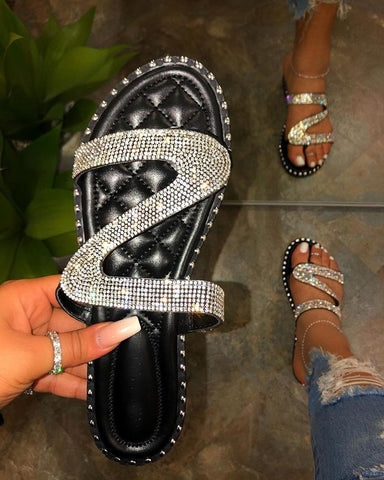 Vieley Jelly Rhinestone Emblished Criss-Cross Strap Slip-On Shinny Slides
