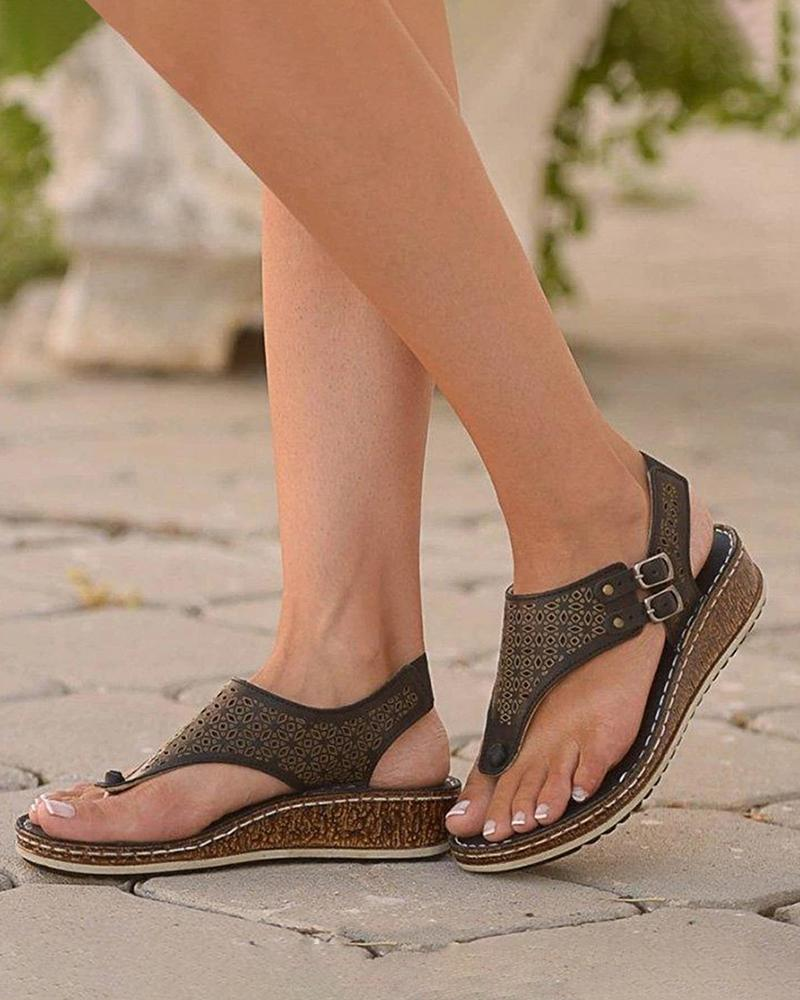 Vieley Platform Hollow Out Wedges Buckle Ankle Strap Open Toe Thong Sandals