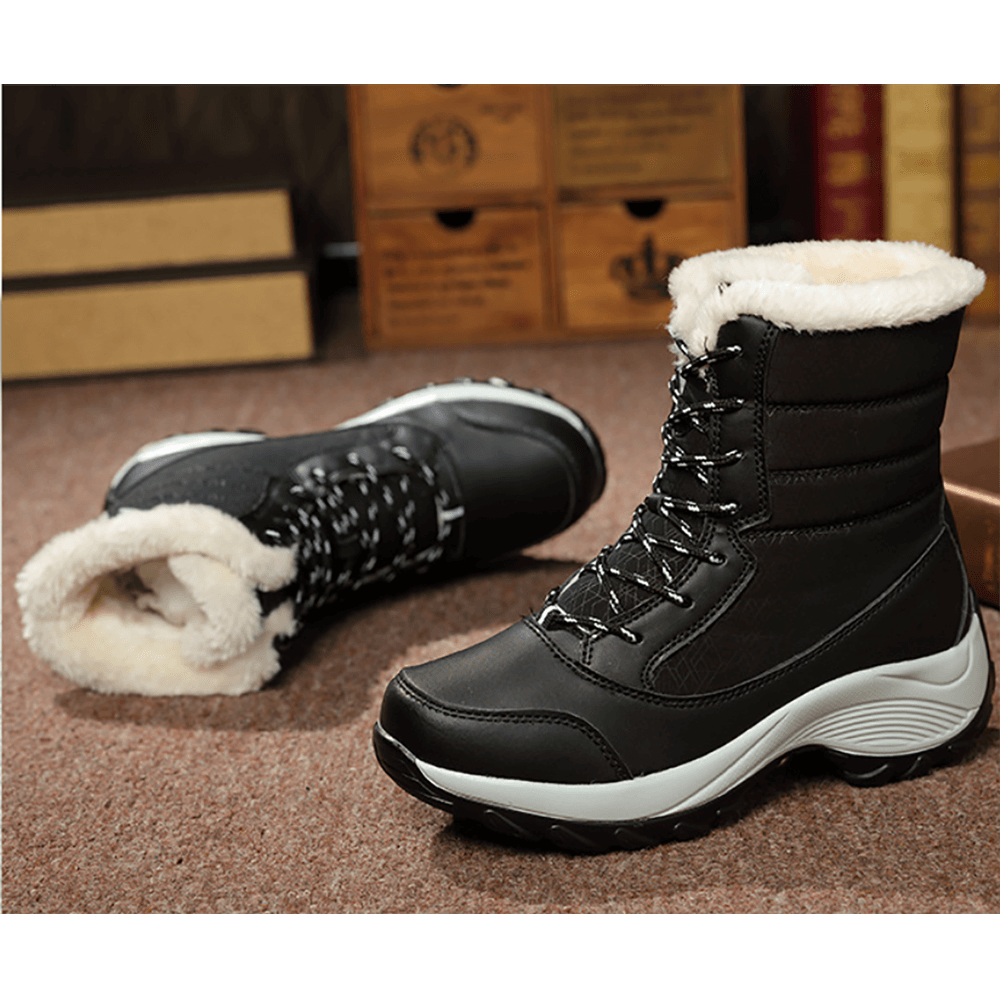 Vieley Lace-up Waterproof Fur Boots