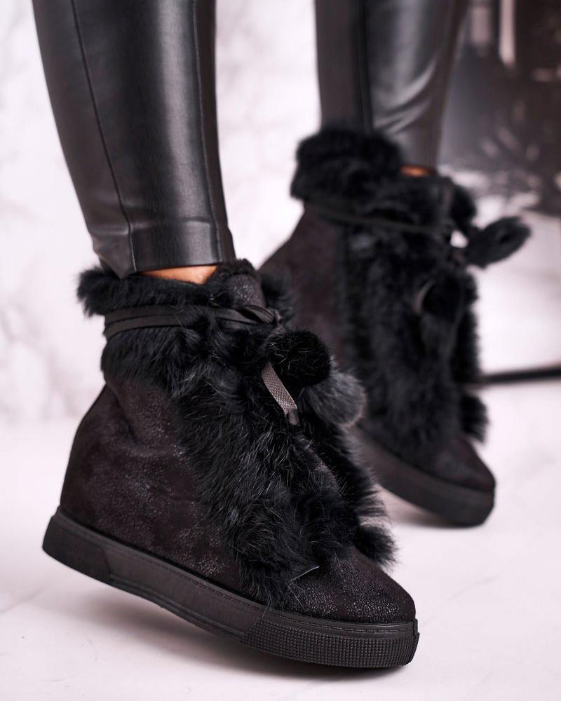 Vieley Womens Lace Up Booties Hidden Wedge Faux-Fur Boots