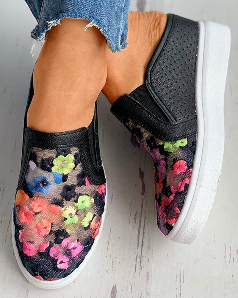 Vieley Colorful Floral Breathable Mesh Loafers