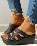 Vieley Shinny Glitter Cut-out Wedges Open Toe Platform Sandals