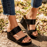 Vieley Womens Open Toe Platform Wedges Ankle Strap Cork Heeled Sandals
