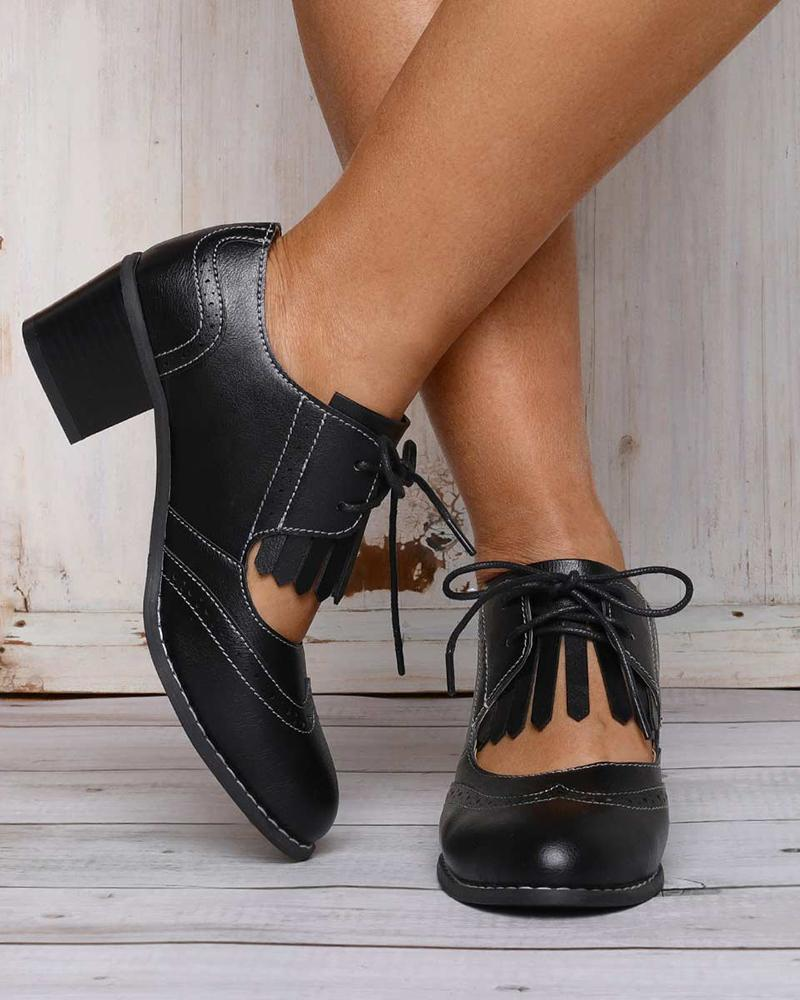 Vieley Women's Almond Toe Cut Out Lace Up Block Heel Shoes