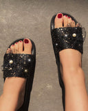 Vieley Pearl Lace Flower Embellished Summer Slides