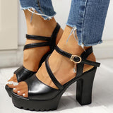 Vieley Womens Open Toe Ankle Strap Chunky High Heel Sandals