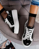 Vieley Womens Sequin Lace up Platform Sneakers