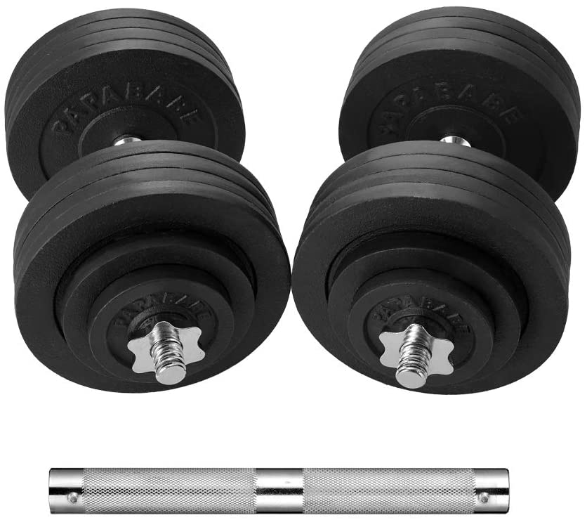 Vieley 66LBS Eco-friendly Paint Adjustable 44LBS Dumbbell Set with Connector