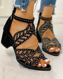Vieley Leaf Hollow Out Pointed Open Toe Ankle Strap Studded Symmetrical Beauty Sandals