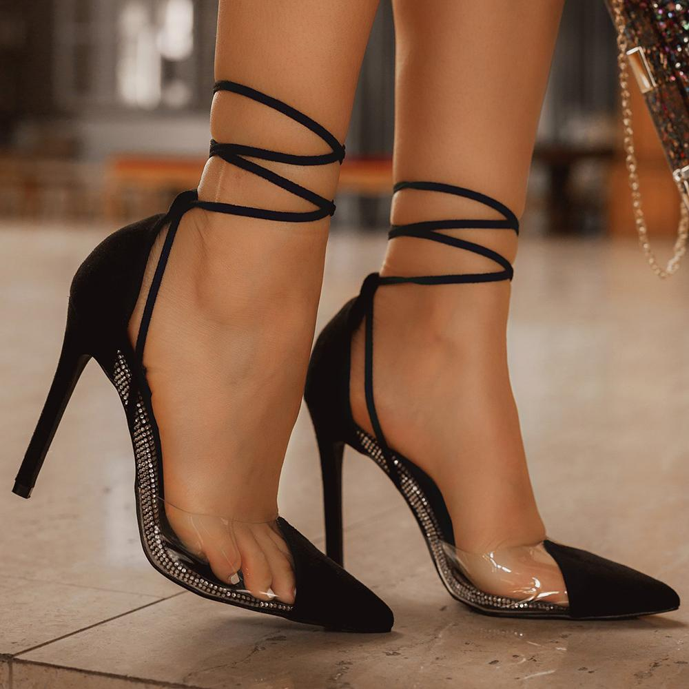 Vieley Lace Up Sexy Stiletto High Seels Pumps