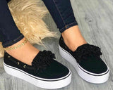Vieley Women Slip-On Suede Flat Sneakers Casual Flower Comfortable Loafers