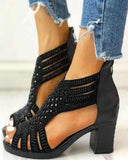 Vieley Peep Toe Studded Hollow Out Back Zipper Chunky Heel Sandals