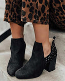 Vieley Womens Round Toe Cut-out Studded Slip-on Heeled Booties