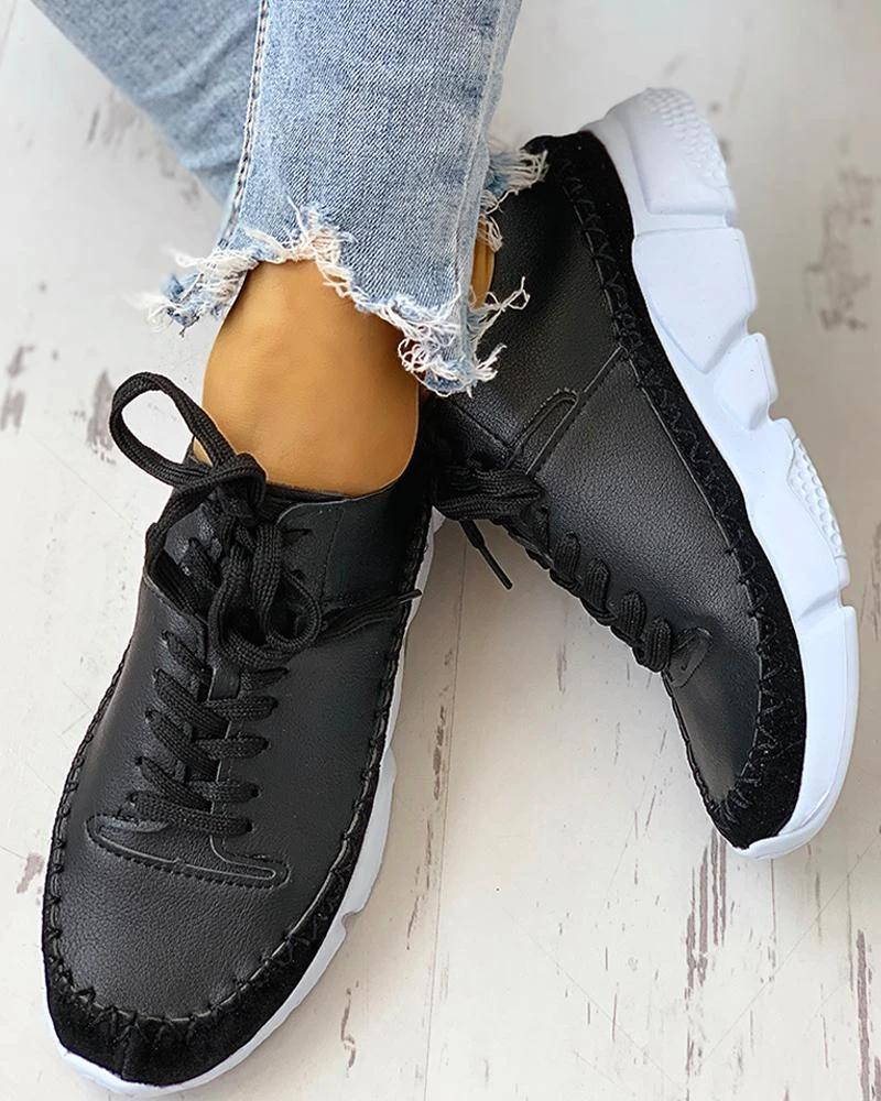 Vieley Lace Up Stitching Color Comfortable Sneakers