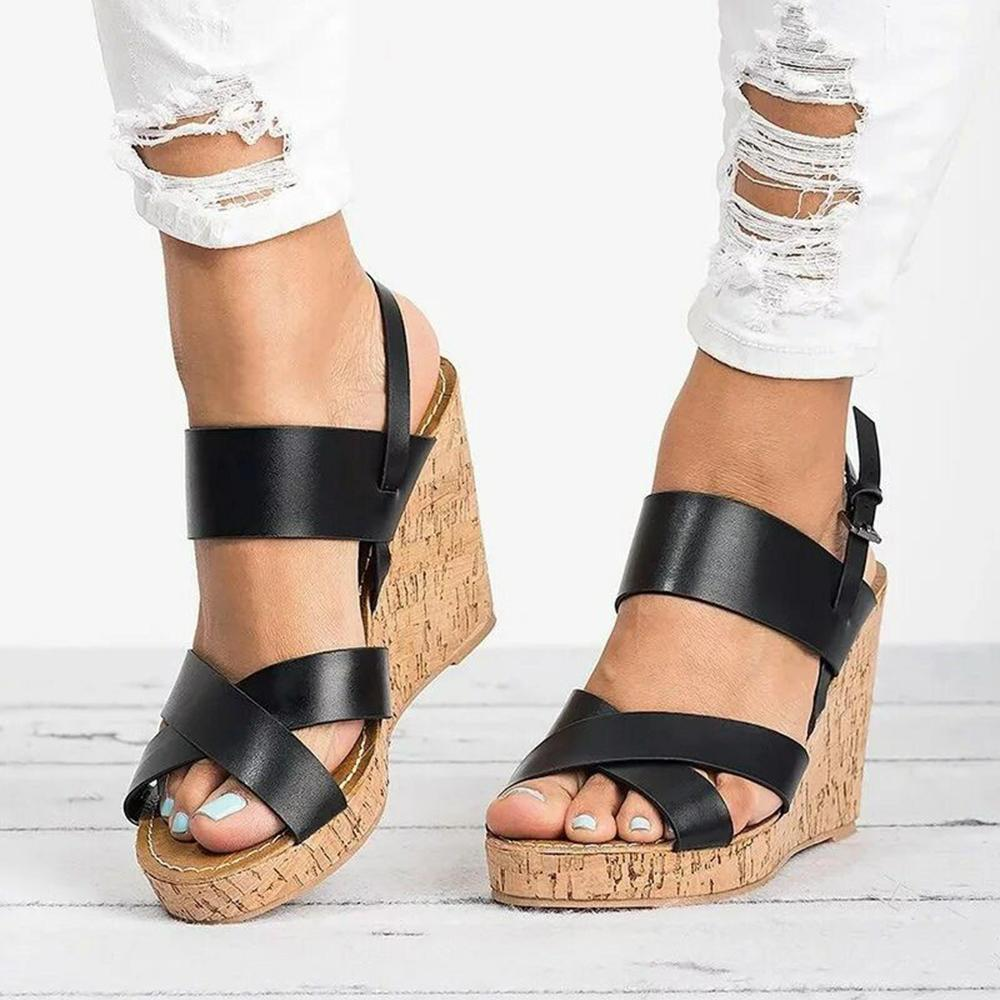 Vieley Womens Cross Strap Wedge Sandals