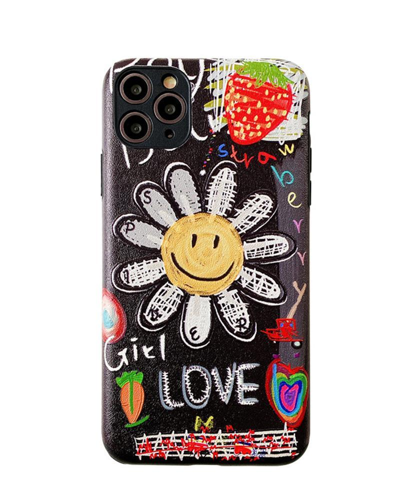 Vieley Smile Sunflower Strawberry Letter Printed Cartoon Apple iPhone Case
