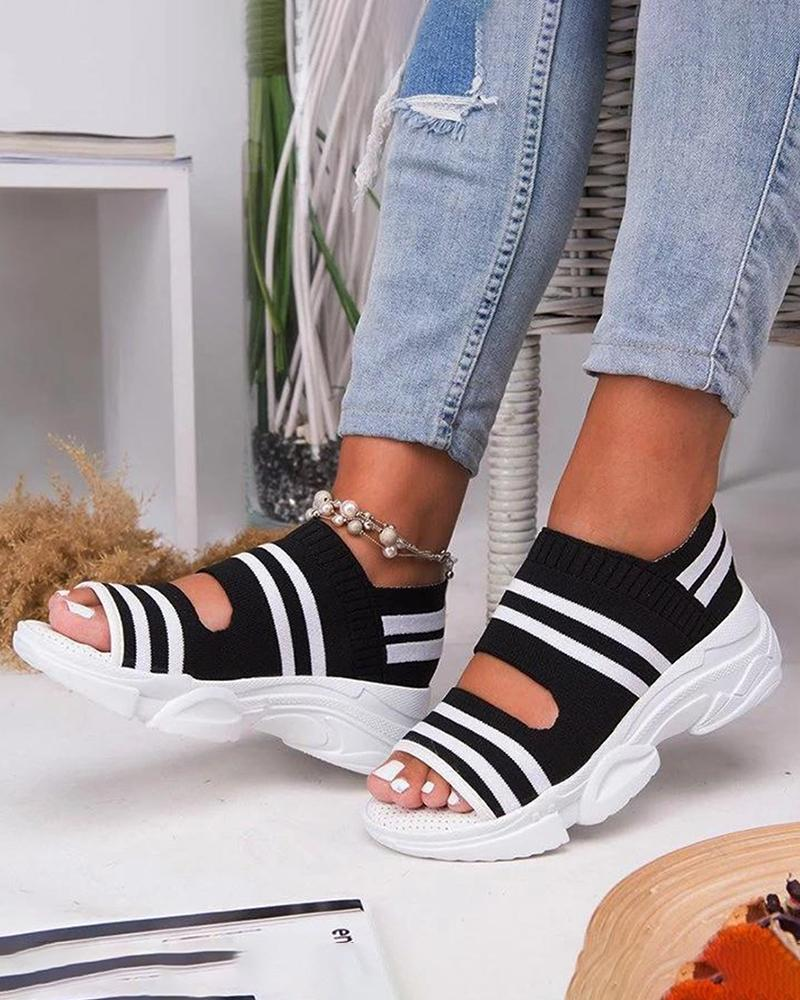 Vieley Breathable Comfy Slip-on Striped Sandals