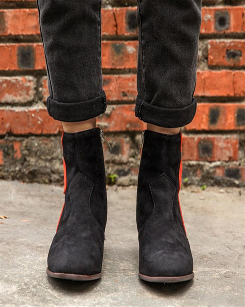 Vieley Point Toe Side Zipper Stitching Color Stylish Boots