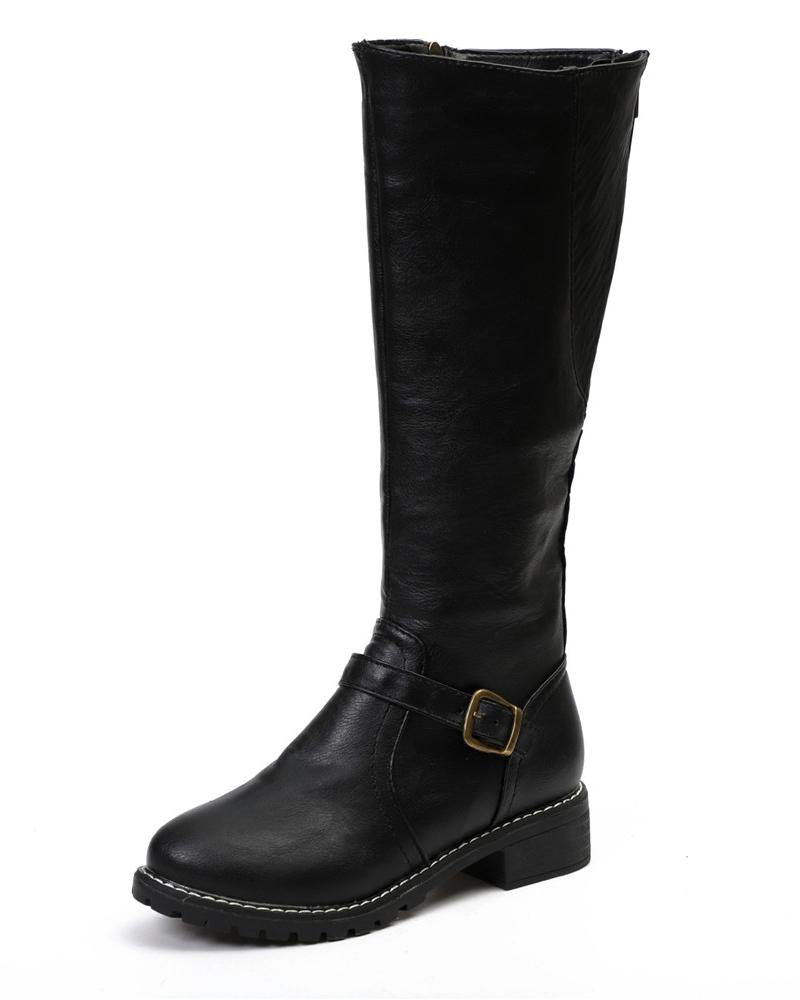 Vieley Flat Buskin Boots Round Toe Side Zipper Buckle Embellished Boots