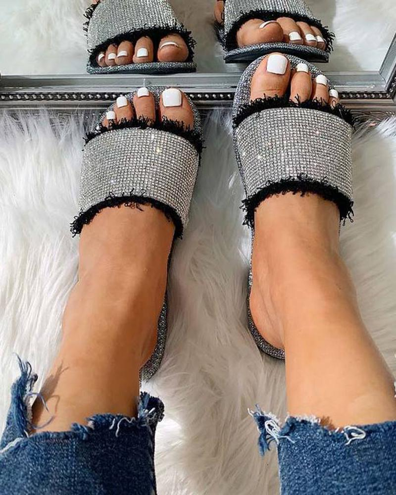 Vieley Casual Slides Single Band Slippers Rhinestone Embellished Flat Sandals